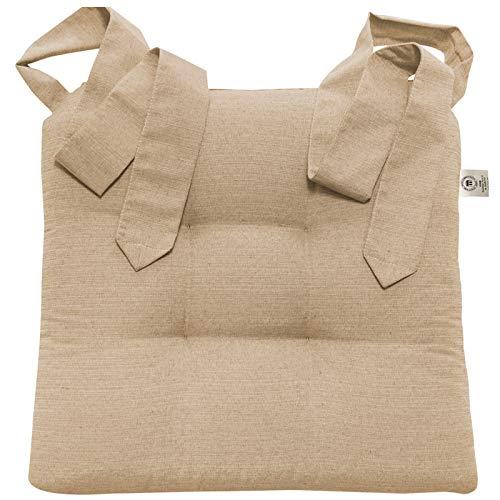 JEMIDI Stuhlkissen Sitzkissen mit Schleifenband Stuhlkissen Esszimmer Schleife Stuhl Kissen Rattanstühe Extra Dick Bequem Leinenlook (Beige)