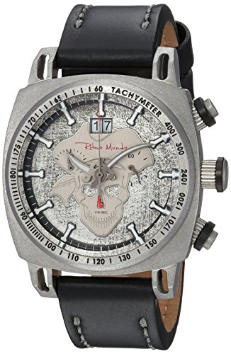 Ritmo Mundo Swiss Quartz Stainless Steel and Leather Casual Watch, Color:Black (Model: 2221/14)