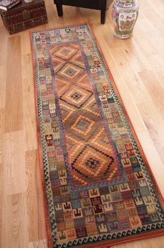 7' X 9 Grün (Traditionelle, im persischem Stil, Teppiche in Grün, Beige, gebranntem Orange, 68 x 235 cm, (2ft 3