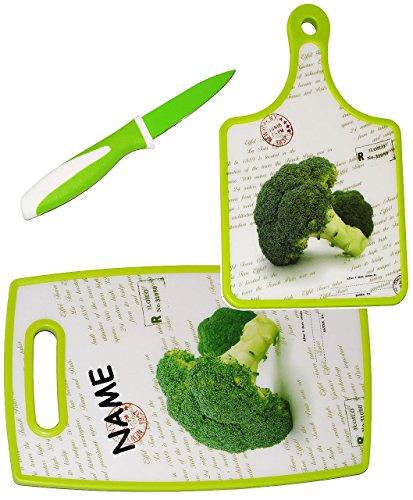 alles-meine.de GmbH 3 tlg. Set: Messer & 2 Schneidebretter / Frühstücksbrett -  Brokkoli - Gemüse..