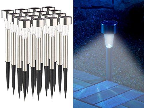 Lunartec Solarlicht: 16er-Set Mini-Solar-LED-Wegeleuchten mit Dämmerungssensor, IP44 (Solarlampe Garten)