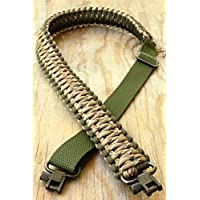 Eslingas para rifle hecha a mano con cuerda de paracaídas 550 y eslabones giratorios, ajustable, OD Green & Desert Camo
