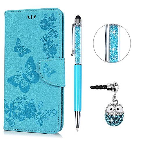 e Leder Case,KASOS iPhone 6 Plus Handyhülle Brieftasche Book Type PU Leder +TPU Innere Tasche Bunt Gemalt Magnetverschluss Ledertasche Cover,Blau + Touch Pen + Stöpsel Staubschutz ()