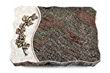 MEMORUM Grabmale Grabplatte, Grabstein, Grabkissen, Urnengrabstein, Liegegrabstein Modell Wave 40 x 30 x 5 cm Paradiso-Granit, Poliert inkl. Gravur (Bronze-Ornament Efeu)