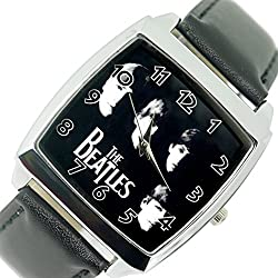 TAPORT® THE BEATLES Quartz SQUARE Watch Black Real Leather Band BF E2 Dial+FREE SPARE BATTERY+FREE GIFT BAG