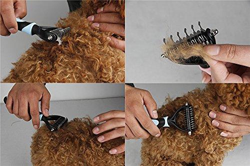 Hundebürste Hundekamm unterwolle Fell-Entfilzungsstriege Hundestriegel Enthaarungs-Bürste für Haustiere - 6