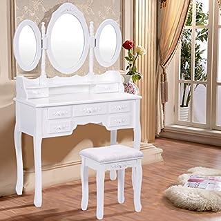 FDS Schminktisch mit 3 Spiegeln Frisierkommode Frisiertisch mit Hocker Kosmetiktisch mit 7 Schubladen Weiß