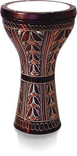 Vatan 3010Derbake Egipto con impresión estilo Nacre talla grande diámetro 20,5cm, color plateado