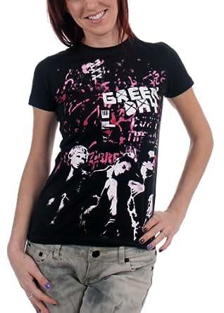 Green Day - - Graffiti-Wand-Mädchen Kurzarm T-Shirt in Schwarz, XX-Large, Black