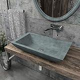 KERABAD Design Betonwaschbecken Waschtisch Aufsatzwaschbecken Waschschale aus Beton Grau eckig 60x34x12cm KB-B503