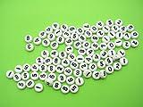 100perlas redondas blancas números negras 7mm artículo Neuf, ideal para Vos manualidades, recortes, pulsera o collar Fantasía. Cuentas Niño o adulto plástico, a todo Gracia 2agujeros.