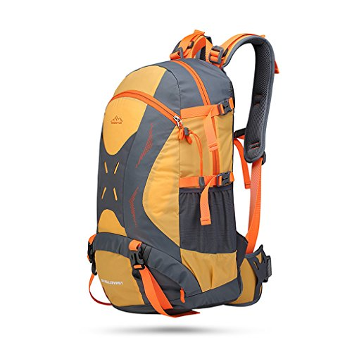 Zaino esterno uomini e donne di grande capacità borsa da viaggio in nylon impermeabile borsa sportiva alpinismo, Green Yellow