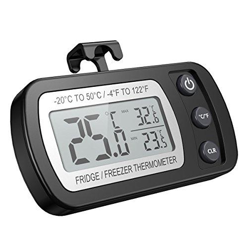 ORIA Digital Kühlschrank Thermometer Wasserdicht Gefrierschrank Thermometer mit Haken Leicht zu LCD-Display lesen, Max/Min Funktion Perfekt für Wohnhaus, Restaurants, Cafes, Eisschrank, Kühl, etc.