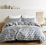 3 TLG. Bettwäsche 200 x 200cm Gestreift Grau Weiß Streifen Bettbezug Set mit 2 Kissenbezüge 80×80 cm, Microfaser