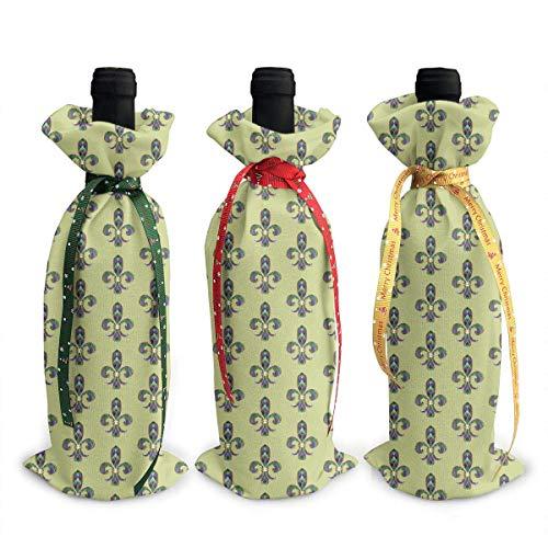 Wine Bottle Covers Color Lily Mardi Gras Wrap Home Party Decoration, Champagne Bottle Bags-Dinner, Party Table DÃcor