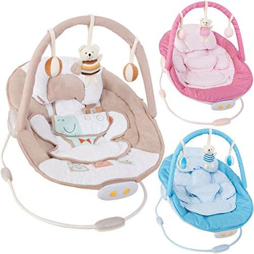 Babywippe / Babyschaukel NINA SENSO mit Spielbogen & Vibrationsfunktion & Musikfunktion (12 Melodien) (BLAU)