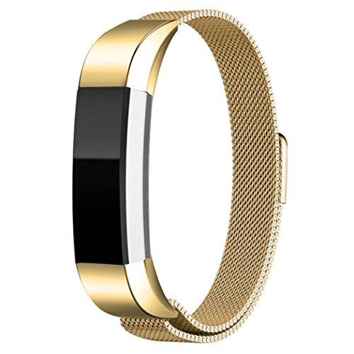 Edelstahl Armband, OverDose Magnetschlaufe Edelstahl Uhrenarmband Armband für Fitbit Alta HR Smart Watch (Gold)