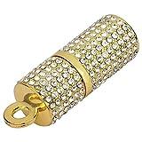 Quace Golden Crystal Lipstick Shape 16 GB USB Pen Flash Drive
