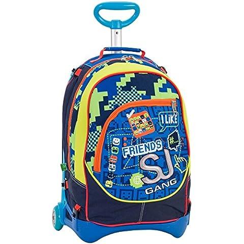 3 en 1 Mochila con ruedas - SEVEN JACK JUNIOR - SJ BOY - amarillo azul - extraíble y lavable - 28 lt Trolley con correas de hombro ocultables - Escuela y Viajes -
