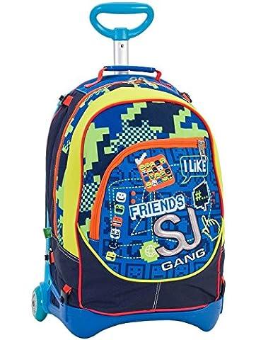 3in1 Rucksack mit Rollen SEVEN Jack Junior - SJ BOY - Gelb Blau - 28 Liter Trolley + Verwendung als Rucksack bei komplett entferntem Rollgestell - Waschbarer und abnehmbarer Rucksack neu