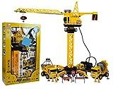BSD Großer Baukran mit Fernsteuerung 65 cm - Set Kran mit 2 Baufahrzeuge und Satz von Warnzeichen - RC Ferngesteuerter KRAN inkl. Fernsteuerung - Kran Spielzeug