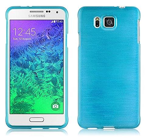 Cadorabo - Silikon TPU Schutzhülle für Samsung Galaxy ALPHA (G850F) Hülle Case Cover in Edelstahl-Optik gebürstet (brushed) in TÜRKIS