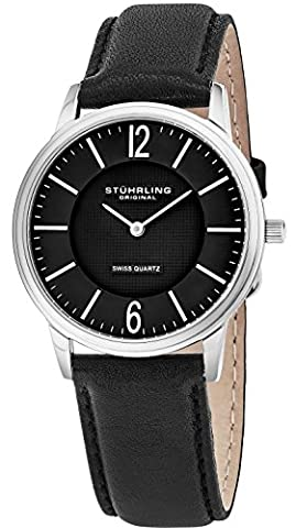 Stuhrling Original Mens & Womens Black Dial Swiss Quartz Luxury Dress Watch 38 mm Ultra Slim Stainless Steel Case Horween Custom Made In USA Artisan Leather Strap Unisex Limited Edition