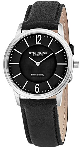 Stuhrling Original Mens & Womens Black Dial Swiss Quartz Luxury Dress Watch 38 mm Ultra Slim Stainless Steel Case Horween Custom Made In USA Artisan Leather Strap Unisex Limited - Stuhrling Quarz Swiss Original