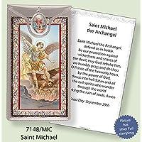 ST Saint Michael Argento Foil Etched Verse preghiere e medaglia ciondolo - Foil Ciondoli