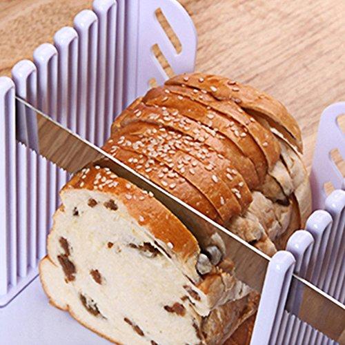 eTACH Brot-Brotschneider, Backdicke, verstellbare Brotschneideführung, kompakt, faltbar, mit weißer Schneiderform