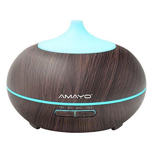 Amayo Diffusore di Aromi, 300 ML, Diffusore di Air, Umidificatore, Diffusore di essenze, aromaterapia diffusore oli, Hotel, bagno, casa, camera da letto, Spa & Sport, marrone, aromaterapia umidificato