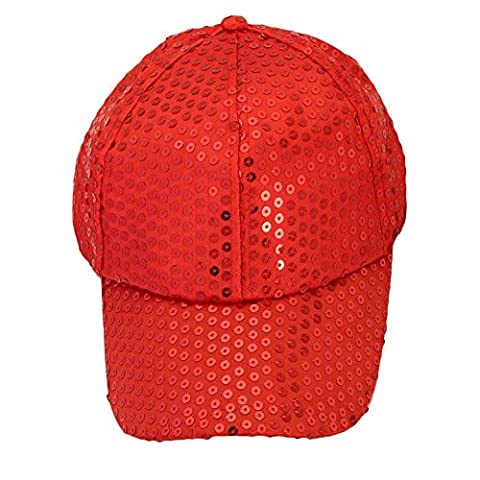 Fulltime(TM) Unisex Sequins Classic Adjustable Baseball Caps CASUAL SPORTS LEISURE (Red)