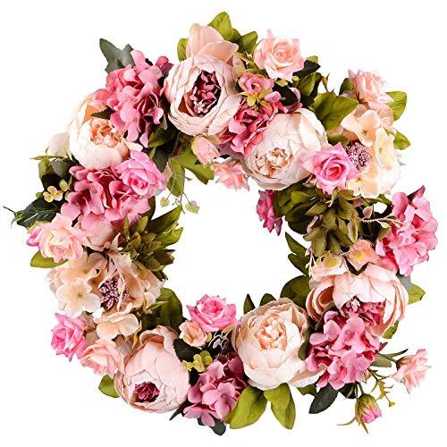 sodial corona di ghirlanda di fiori artificiali ghirlanda di fiori - corona porta corona da 16 pollici corona di primavera corona perporta d'ingresso, matrimonio, decorazioni percasa