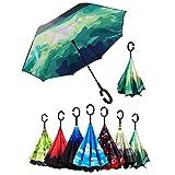 Reversion Regenschirm, Innovative Schirme Double Layer Winddicht Regenschirm Freie Hand Taschenschirm inverted Stockschirme mit C Griff für Reisen und Auto Outdoor di SKY TEARS (Grüner Spiegel)