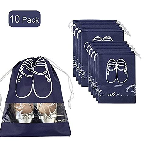 10x Portable Dust-proof Breathable Travel Shoe Organizer Bags Transparent Window for Boots, High Heel Drawstring, Space Saving Storage Bags, Navy