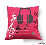 meSleep Music Love Red ValentineCushion Cover (12x12 Inches | 30x30 CM)