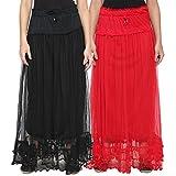 NumBrave Black & Red Long Flared Skirt (...