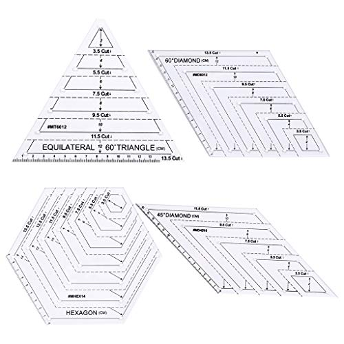 Haven Shop Quilting Lineal Vorlagen, 4-teiliges Set Quilting Sewing Patchwork Craft Scale Lineal Dreieck Hexagon DIY Handarbeit Schneider Home Tools