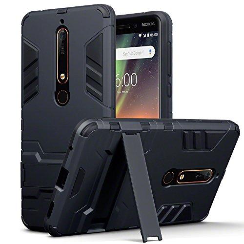 TERRAPIN, Kompatibel mit Nokia 6 2018 / Nokia 6.1 Hülle, Silikon + Polycarbonat Tasche mit Standfunktion - Schwarz