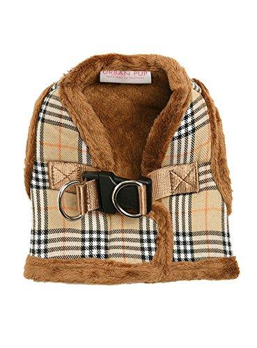 "UrbanPup Luxury Fur Lined Brown Tartan Harness (X-Large - Dog Chest Circumference: 21"" / 53cm) 1"