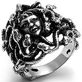 JewelryWe Schmuck Biker Ring für Damen & Herren, Edelstahl, Retro Griechische Mythologie Medusa Schlangen Behaarte Frau, Schwarz Silber