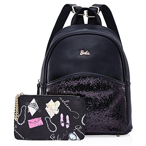 Barbie Zaino da Donna Ragazza Bambina in PU, Colore Nero, Rosa, Bianco, 25x14x26cm#BBBP099 Nero
