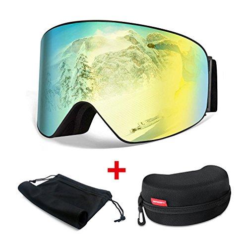 Lunettes de Ski Masque de Ski Masques et lunettes – HAMSWAN Masque Snowboard Anti-UV400 Anti-buée Anti-poussière Double Lentille Détachable OTG Cadeau Idéal Noël