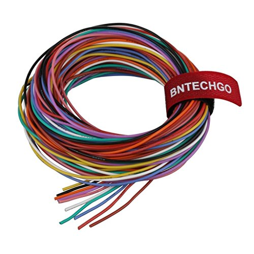 BNTECHGO 24 Gauge Silicone Wire Kit Ultra Flexible 10 Color High Resistant 200 deg C 600V Silicone Rubber Insulation 24 AWG Silicone Wire 40 Strands of Tinned Copper Wire Stranded Wire Battery Cable -