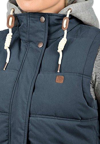 DESIRES Lewonda Damen Steppweste Übergangsweste mit Kapuze aus hochwertiger Baumwollmischung Insignia Blue (1991)