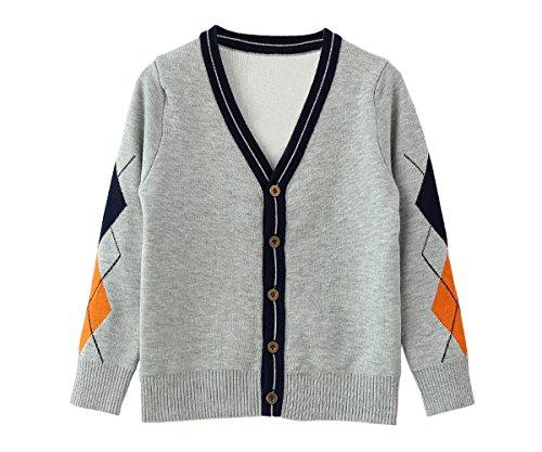 Argyle Pullover Mit V-ausschnitt (Zhuannian Jungen V-Ausschnitt Strickjacke Langärmelig Argyle Cardigan Knopfverschluss Strickpullover (116(4-5Jahren), Grau und Orange))