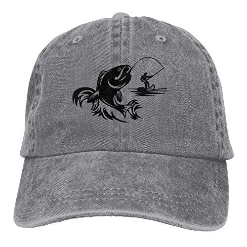 Hoswee Unisex Kappe/Baseballkappe, Bass Fishing Cowboy Cap Adjustable Snapback Baseball Hat Gray -