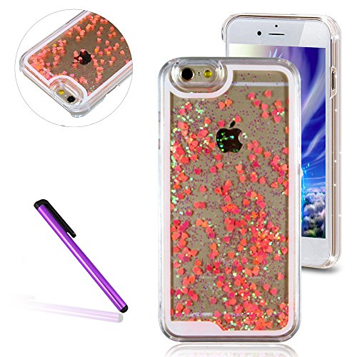 iPhone 6 Hülle iPhone 6S Hülle,iPhone 6S Case,EMAXELERS Hart Plastik Schutzhülle Hülle Case Cute Cherry Blossom Rabbit Muster Hart Transparente Clear Cover Silver Pink Animals Series Sparkles Diamant  Heart Series 5