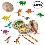 PowerKing Uova di Dinosauro, 12 Pezzi Uova di Dinosauro giurassico uniche Scavare e Scoprire Kit per Bambini Festa di Pasqua Archeologia Paleontologia Regalo di scienze dell'educazione