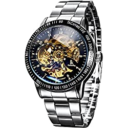 Alienwork IK Automatic Watch Self-winding Skeleton Mechanical Stainless Steel black silver 98226-11